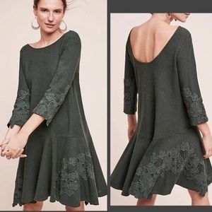 Anthropologie Green Tierra Linen dress XS